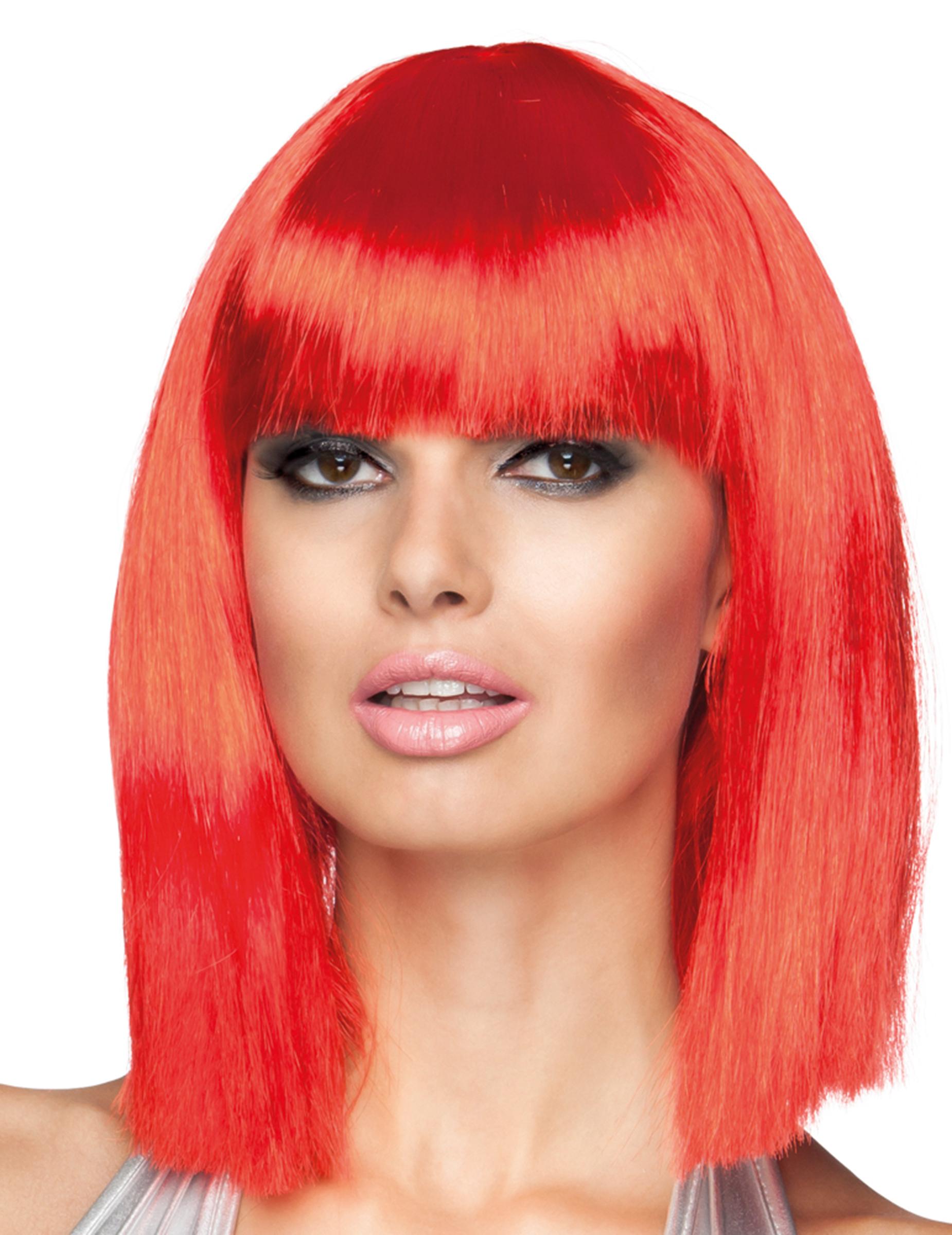 Perruque carré mi-long rouge femme, achat de Perruques sur VegaooPro, grossiste en déguisements