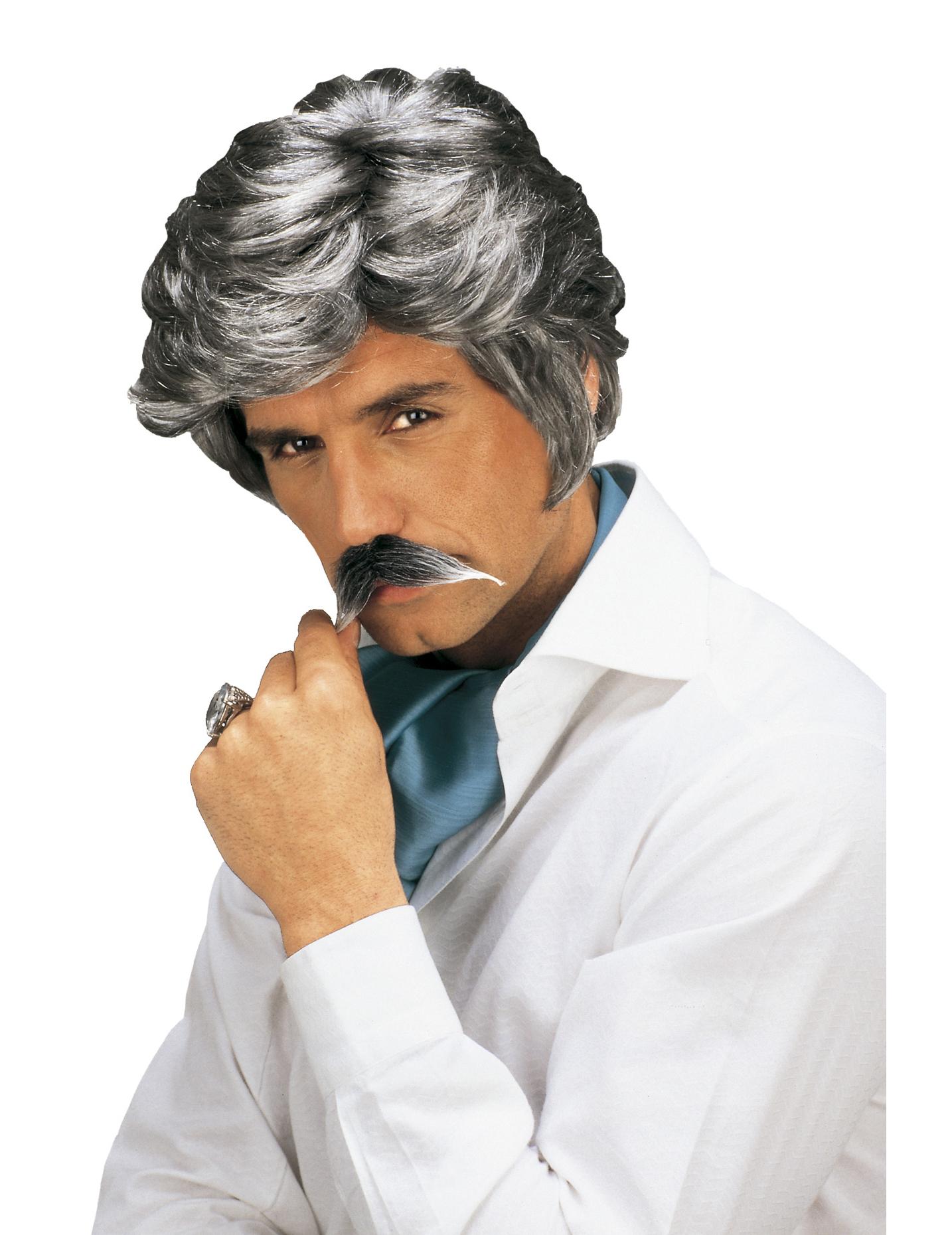 Perruque et moustache Casanova grise homme,