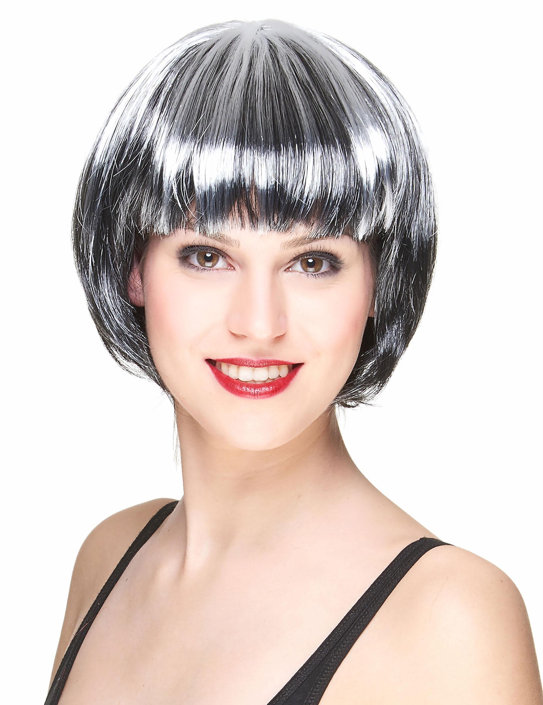 Perruque carré noir et blanc femme, achat de Perruques sur VegaooPro, grossiste en déguisements