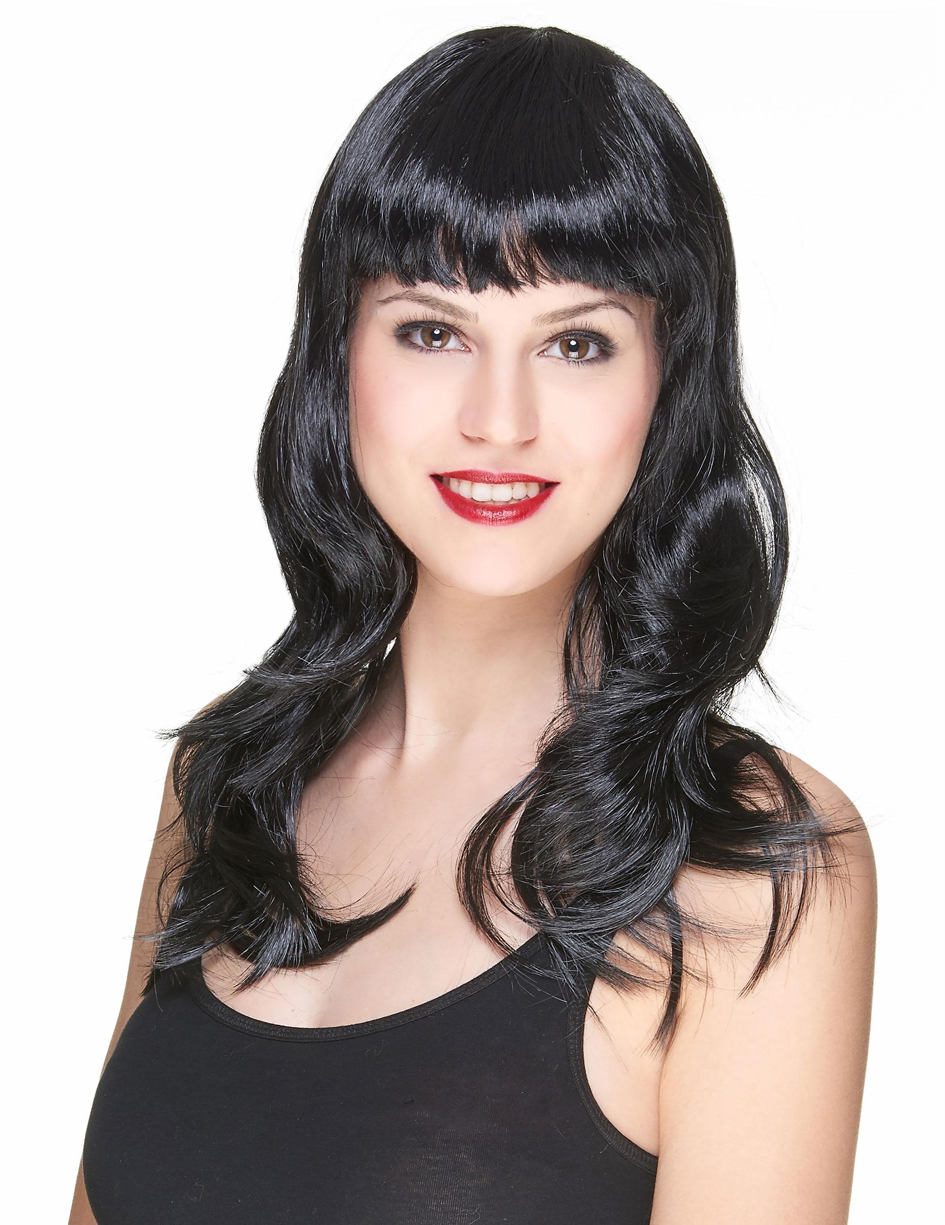 Perruque noire avec frange et ondulée femme, achat de Perruques sur VegaooPro, grossiste en ...