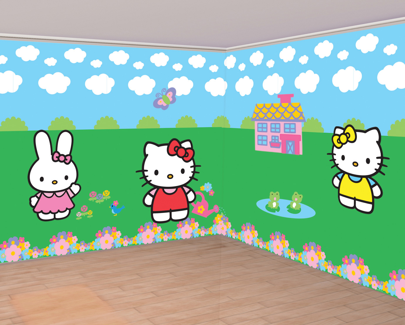 d corations murales hello kitty achat de decoration animation sur vegaoopro grossiste en. Black Bedroom Furniture Sets. Home Design Ideas