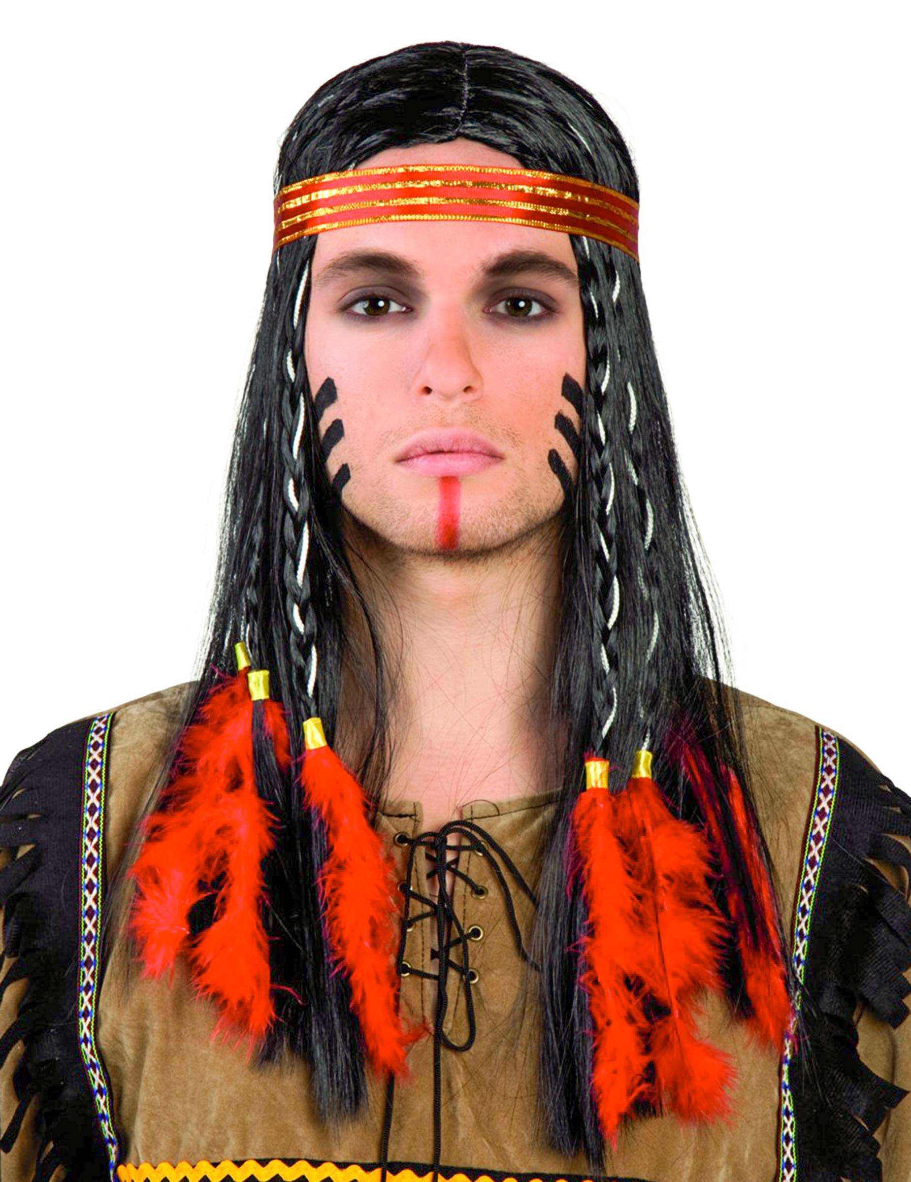Perruque indien avec plumes rouges homme achat de perruques sur vegaoopro grossiste en - Maquillage indien homme ...