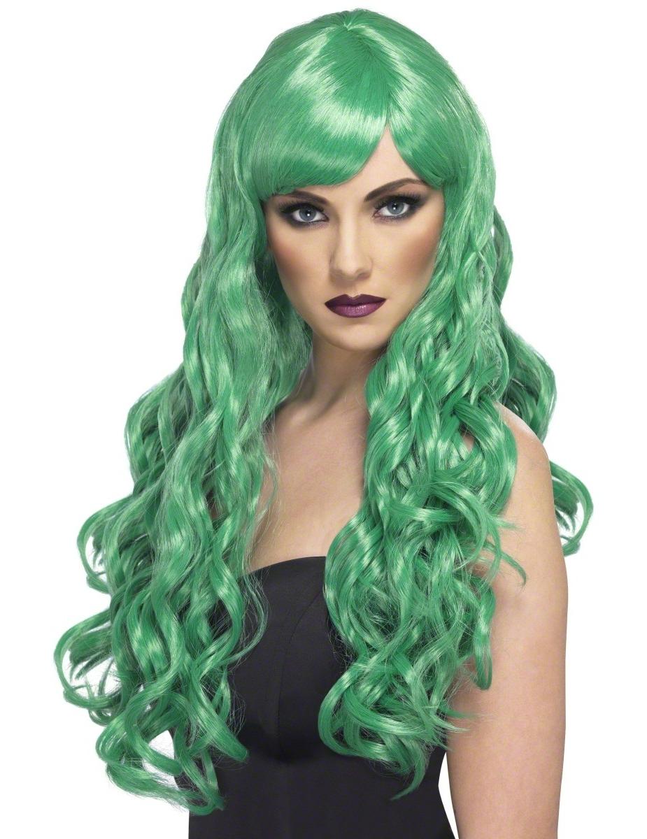 Perruque longue ondulée verte femme, achat