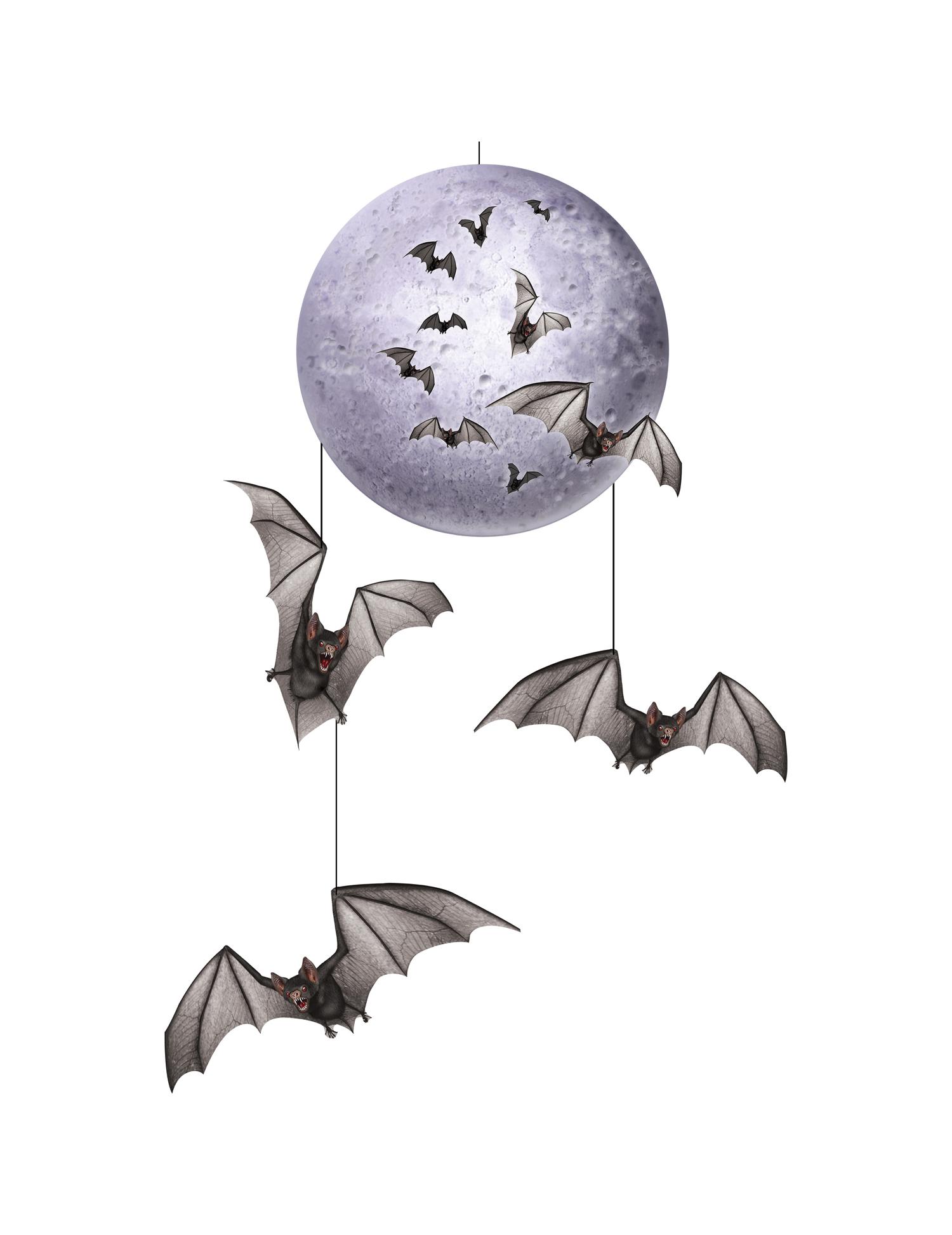 décoration à suspendre lune & chauve-souris halloween, achat de