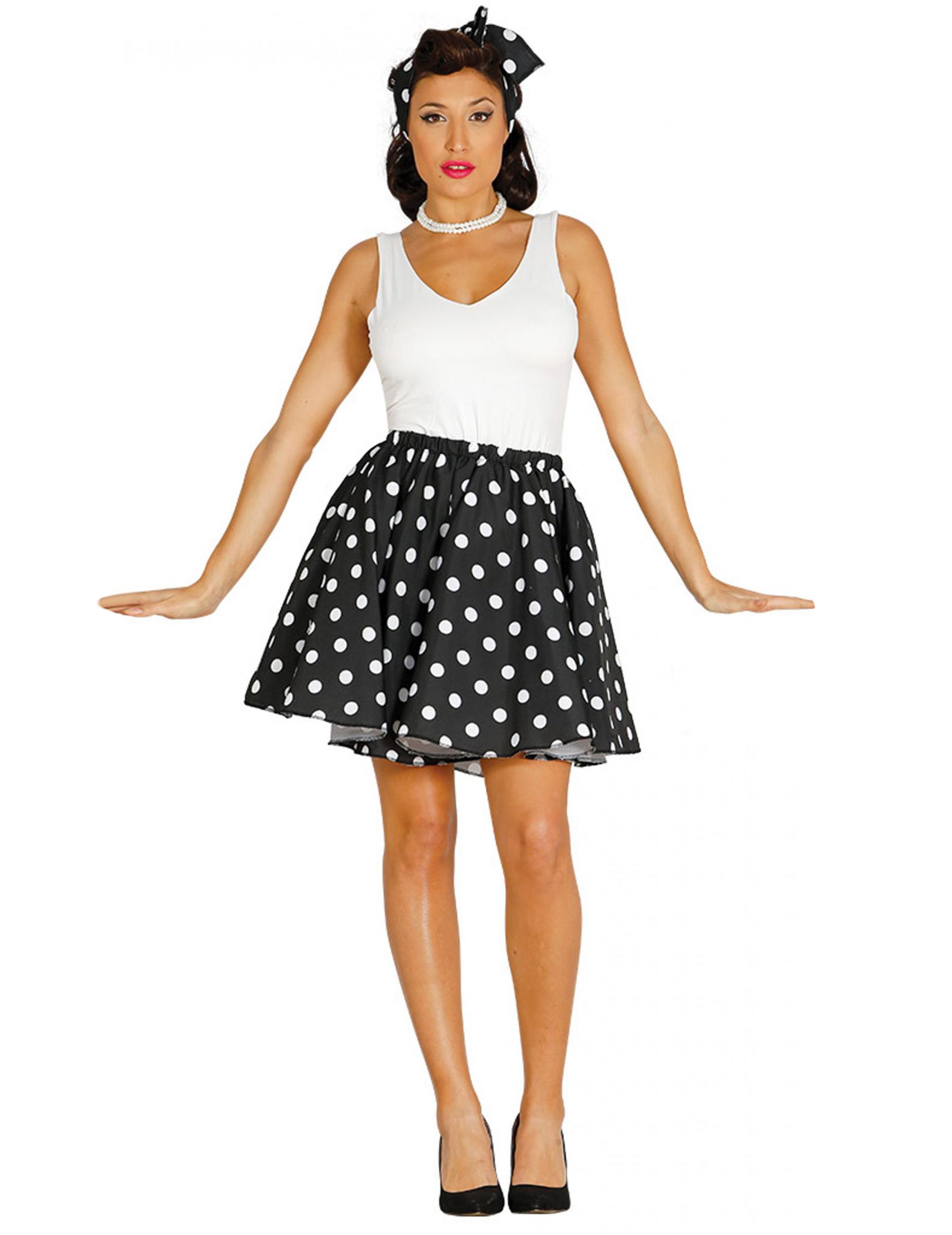db3d43a0908a65 Jupe et foulard noirs à pois années 50 femme, achat de Déguisements ...