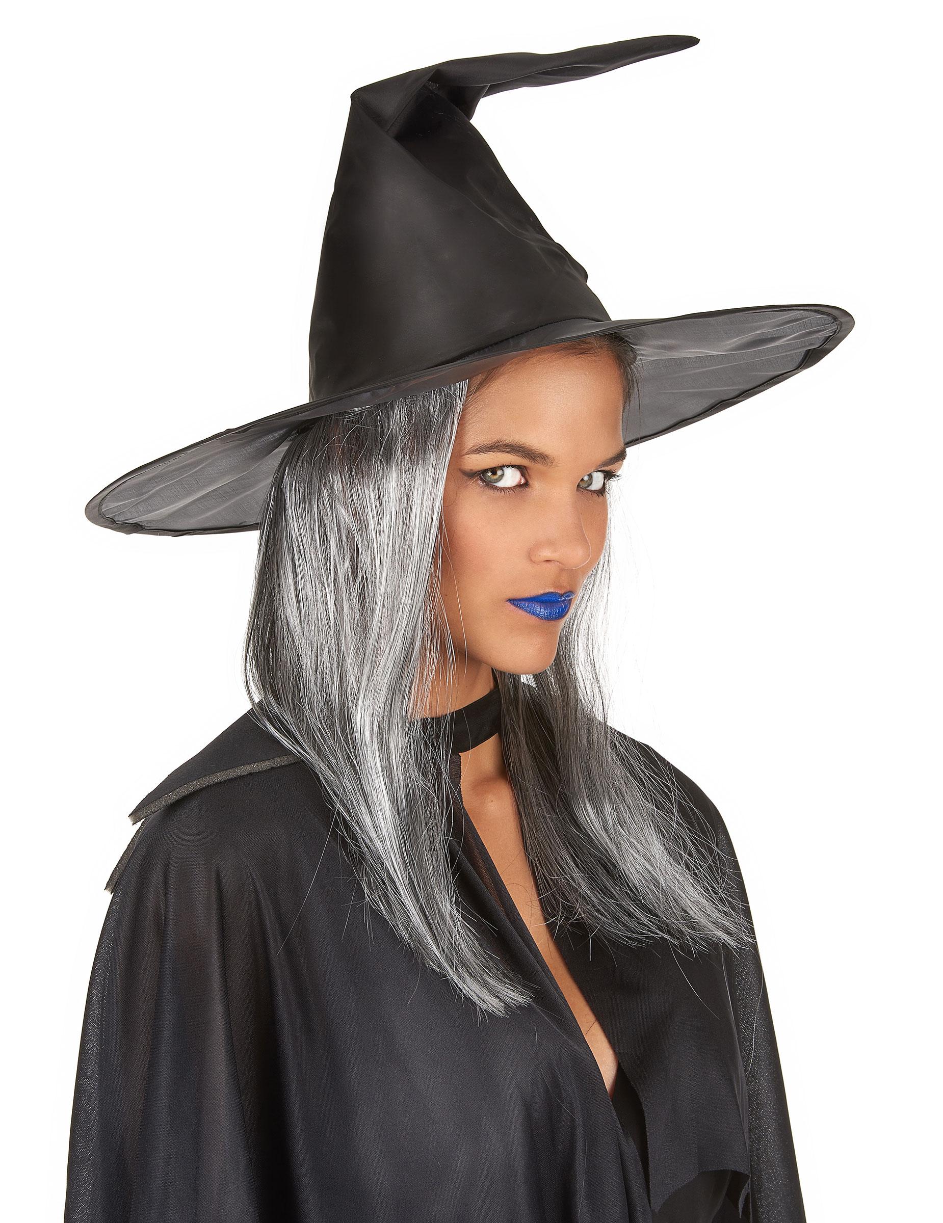 chapeau sorci re noir avec cheveux gris adulte halloween achat de chapeaux sur vegaoopro. Black Bedroom Furniture Sets. Home Design Ideas