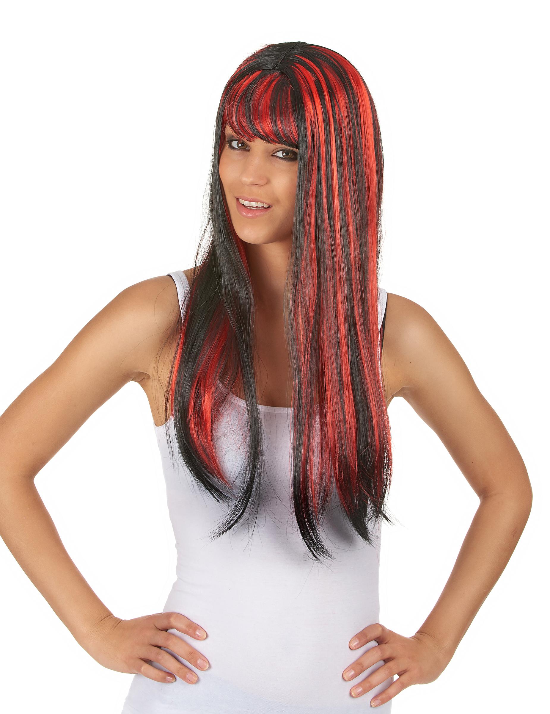 Perruque longue noire avec frange et balayage rouge femme, achat de Perruques sur VegaooPro ...