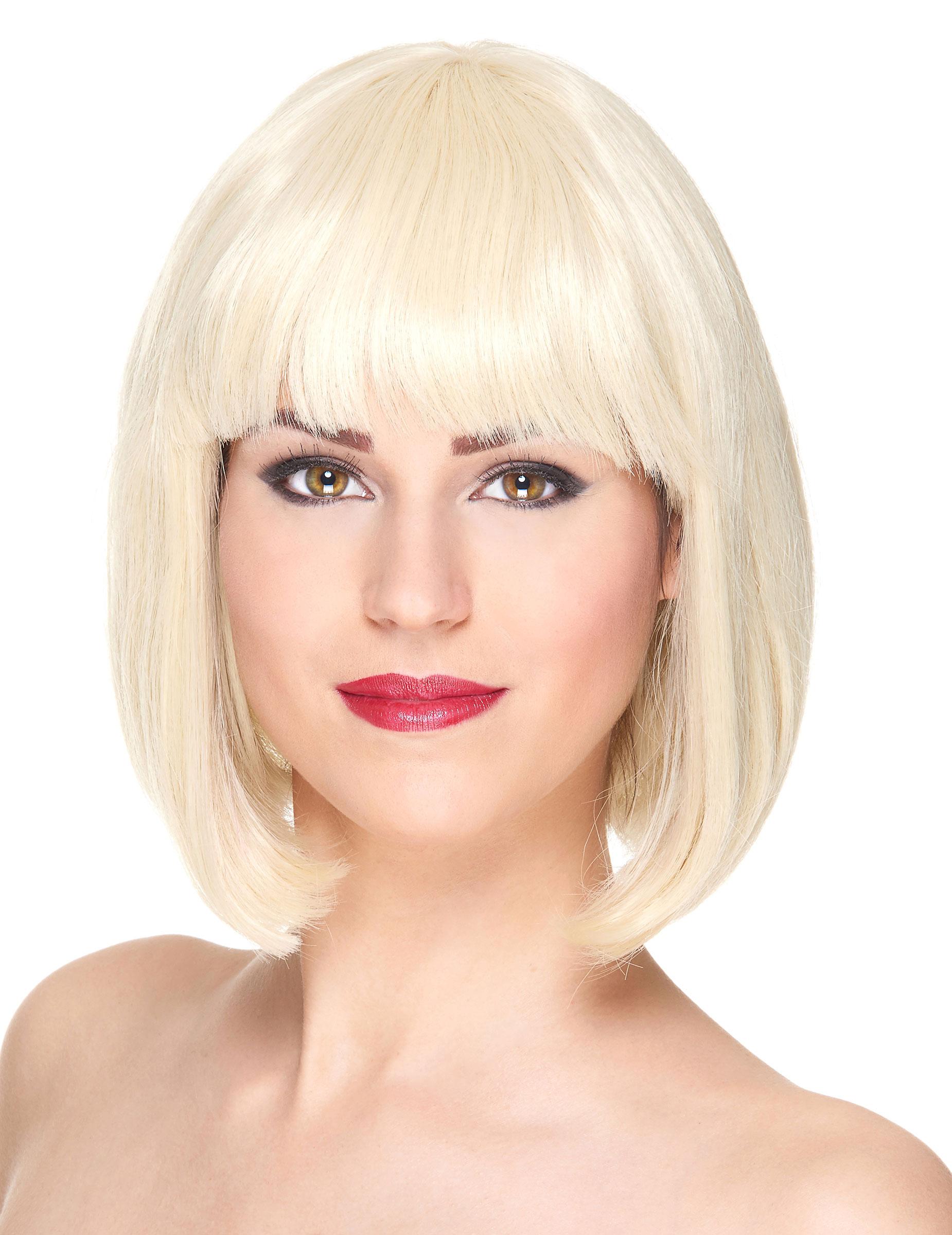 Perruque Luxe Blonde Carré Court Avec Frange Femme Achat De