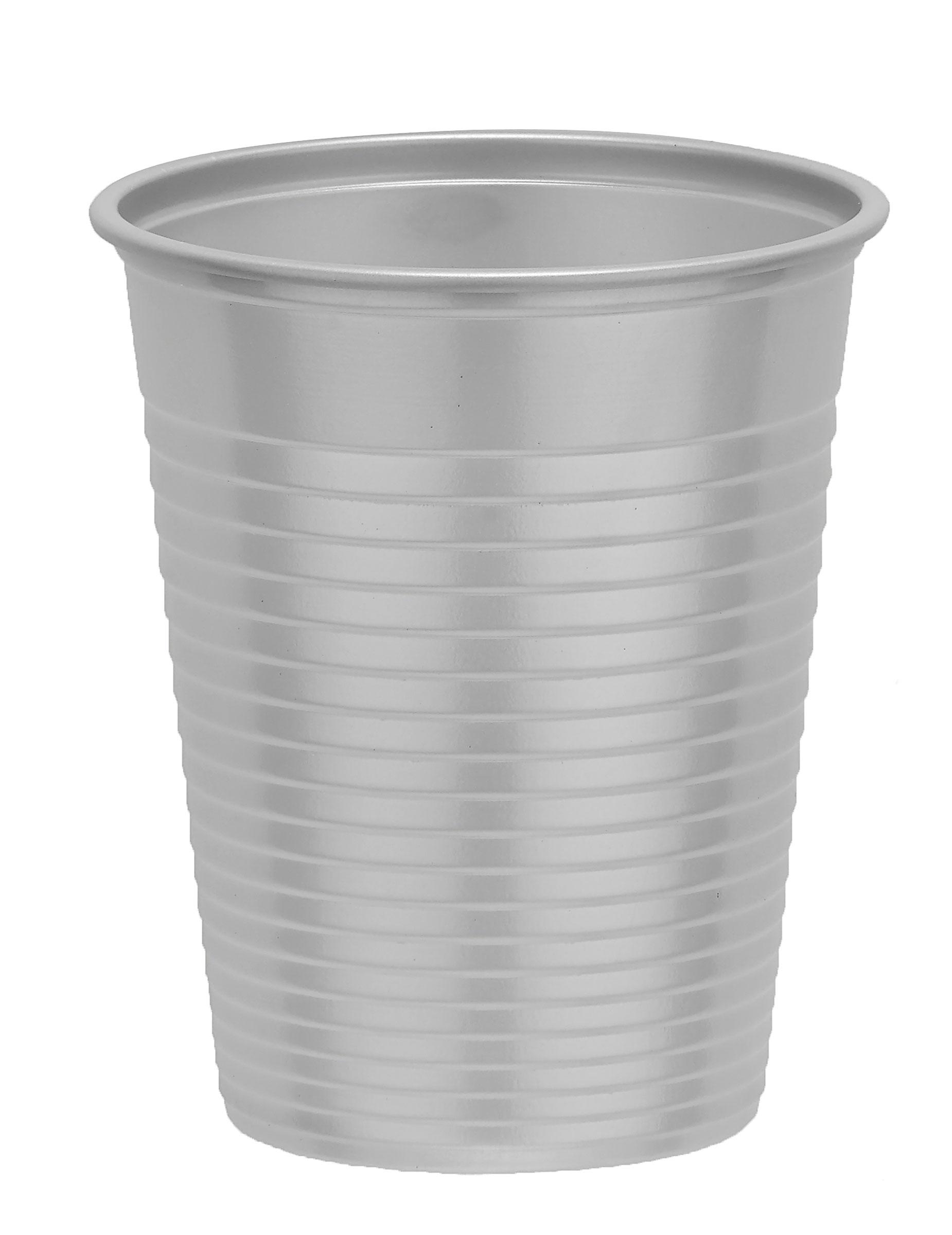 50 gobelets en plastique gris argent 20 cl achat de decoration animation sur vegaoopro - Decoration gobelet plastique ...