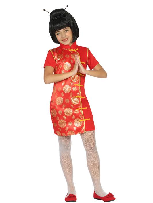 Déguisement robe chinoise rouge et doré fille, achat de Déguisements ... 61431503d6fb
