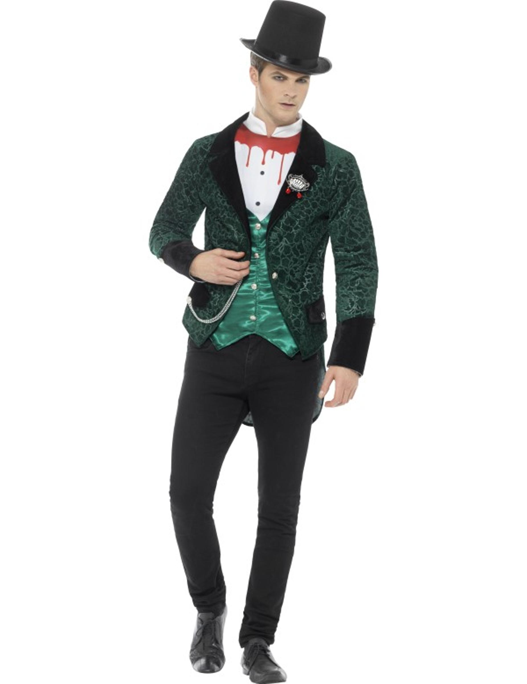 Déguisement Classe Halloween déguisement vampire victorien vert homme halloween, achat de