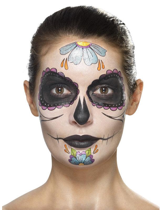 Kit Maquillage Fleurs Bleues Femme Dia De Los Muertos Achat De