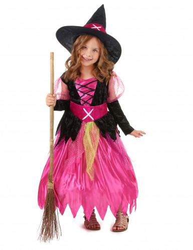 Déguisement rose sorcière fille Halloween