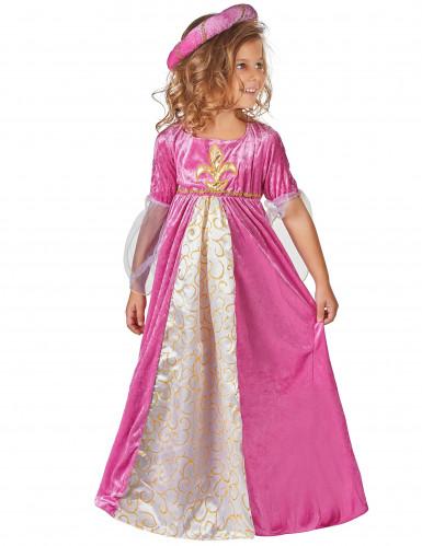 Déguisement princesse médiévale rose et or fille
