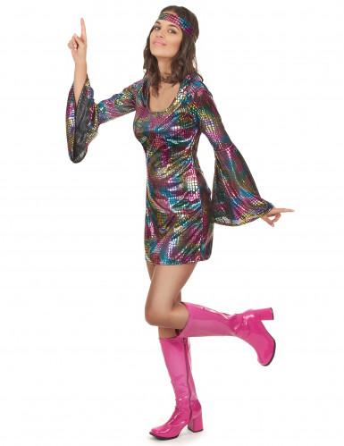 Déguisement disco multicolore femme