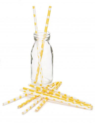 10 Pailles en carton jaunes à pois blanc 21 cm