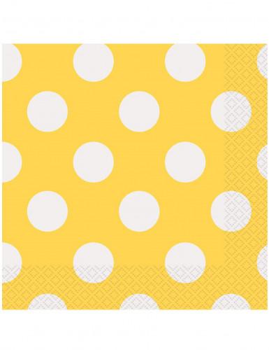 16 Serviettes en papier Jaunes à pois blancs 33 x 33 cm