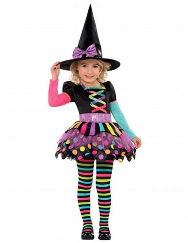 Déguisement sorcière colorée fille Halloween