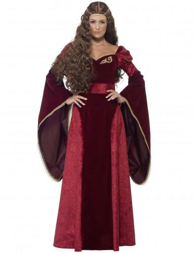 Déguisement reine médiévale rouge femme