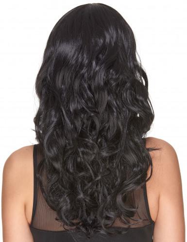 Perruque luxe noire ondulée avec frange femme - 221g
