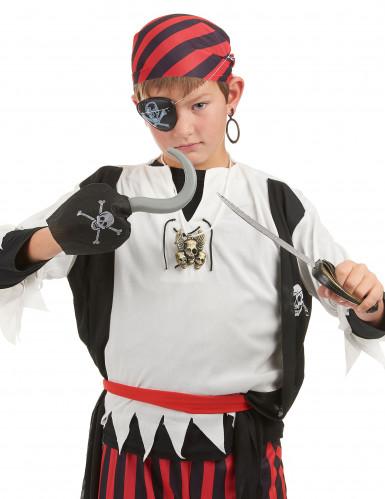 Kit de pirate en plastique - Sabre crochet insigne et cache eil et boucle d'oreilles Enfant