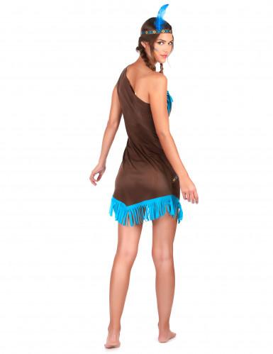 Déguisement indienne marron et bleu femme