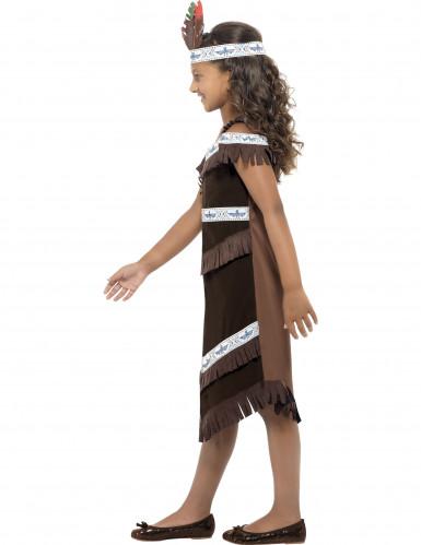 Déguisement indienne marron et blanc fille