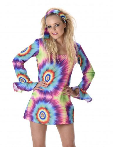 Déguisement robe hippie psychédélique femme