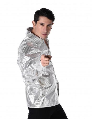 Chemise disco brillante argent homme