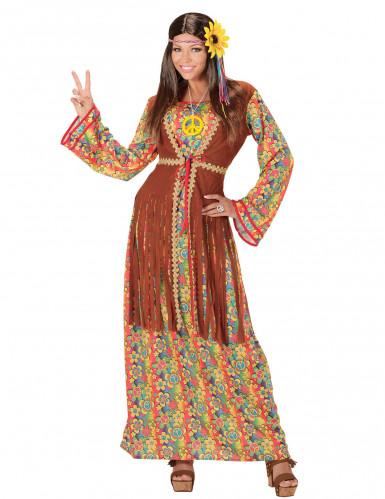 Déguisement robe longue hippie à franges femme