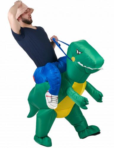 Déguisement explorateur à dos de dinosaure adulte
