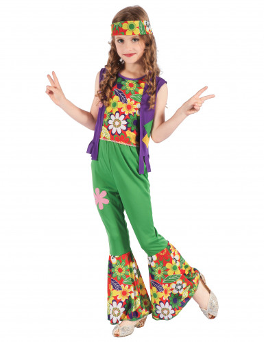 Déguisement hippie flower power vert fille