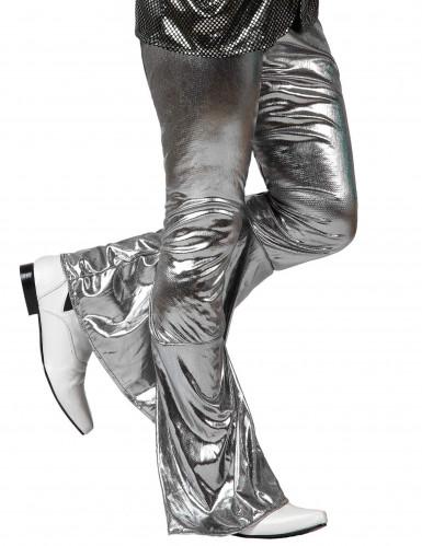 Pantalon disco holographique argent homme