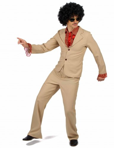 Déguisement Disco beige à froufrous Homme