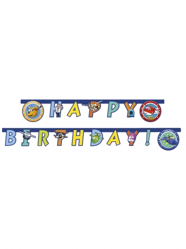 Guirlande happy birthday Super Wings™ 2 m x 16 cm