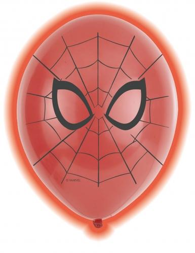 5 Ballons en latex LED Spiderman™ 28 cm