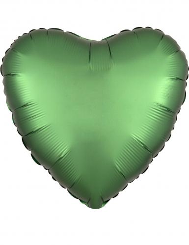 Ballon aluminium cœur vert émeraude satiné 43 cm