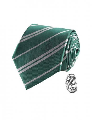 Réplique cravate deluxe avec pin's Serpentard Harry Potter™