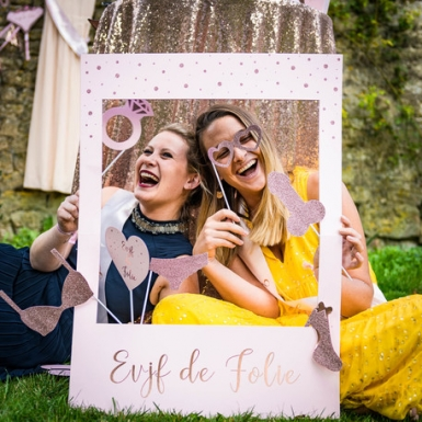 Kit photobooth avec cadre EVJF rose gold 12 accessoires