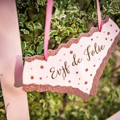 Pancarte culotte EVJF de folie rose gold paillettes 25 x 15 cm