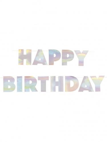 Guirlande en carton happy birthday iridescente 2,20 m