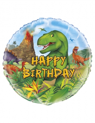 Ballon aluminium rond happy birthday dinosaures 45 cm