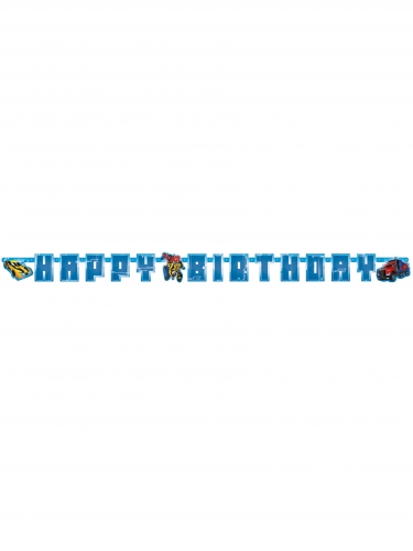 Guirlande en carton Happy Birthday Transformer™ 180 x 15 cm