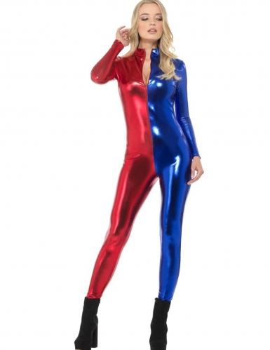 Déguisement combinaison bleu et rouge sexy femme