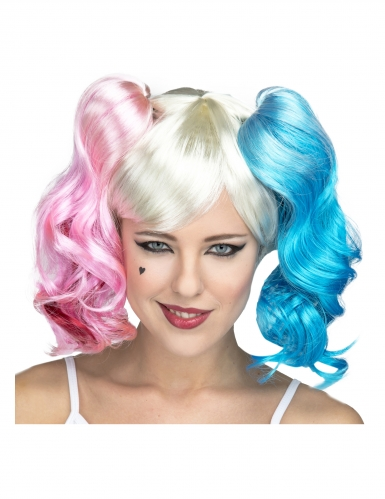 Perruque manga rose et bleu femme