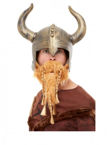 Casque de Viking doré avec barbe