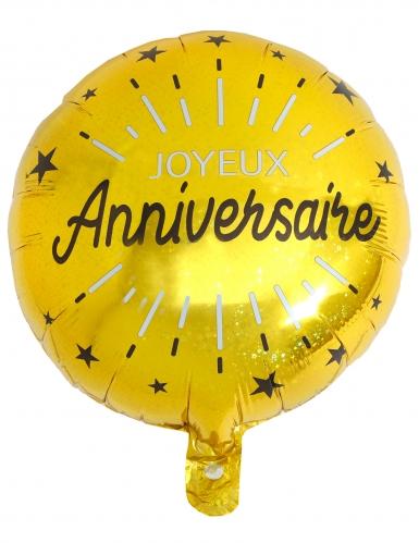 Ballon aluminium Joyeux anniversaire noir et or 35 cm