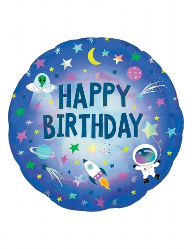 Ballon aluminium holographique Happy Birthday espace 45 cm