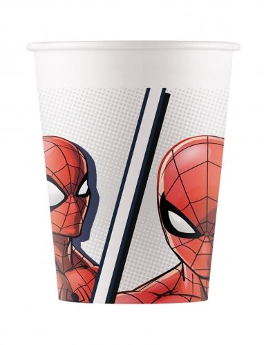 8 Gobelets en carton compostable Spiderman™ 200 ml