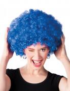 Perruque afro disco bleue volume adulte